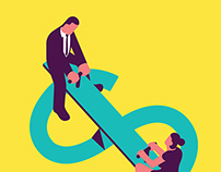 Gender pay gap. Illustration for Adweek magazine