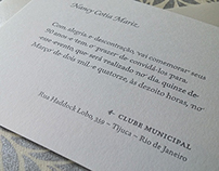 N.C.M. Invitation printed in Letterpress