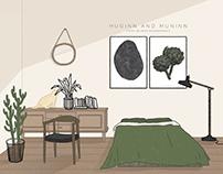illustrations for HUGINN AND MUNINN