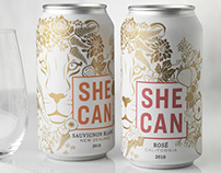 SHE CAN (McBride Sisters) Canned Wine Packaging & Logo