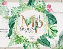 311 Watercolor Modern Plants Design Kit