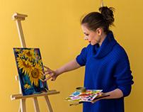 Girl artist paints