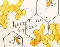 Bee Poetry Watercolor + Calligraphy