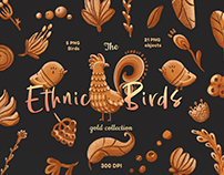Ethnic Birds, clipart folk art, Ukrainian motive