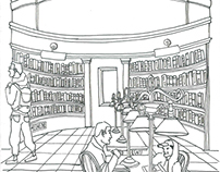 Boston Public Library Panoramic drawing