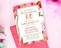 60th birthday Invitation Design