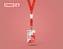 Free Lanyard ID Badge Mockup
