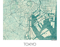 Tokyo, Japan. Blue vintage watercolor map poster
