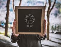 Handmade product. [Poster, bag and postcard]