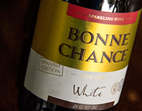 Redesign the label of white sparkling wine Bonne Chance