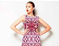 Striped Ornate Modern Floral Textile Pattern