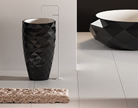 Triangle freestanding washbasin and bathtube T3