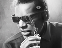Ray Charles Digital Oil Painting by Wayne Flint
