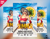Summer Party Flyer Free PSD