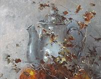 Porcelain teapot and fruits