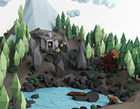 Mountain Temple /// Low poly