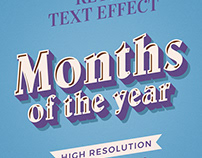 Months of the Year Restro Text Effect Bundle
