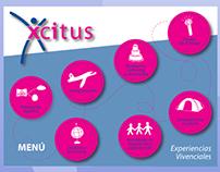 Xcitus. Menú, artes y botones para página web.