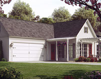 Small house, rendered for a house plan company.