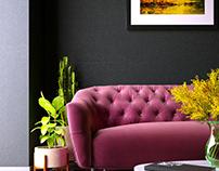 Groovy Fuchsia Pink Living Room