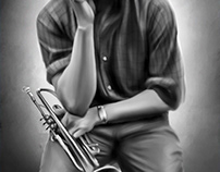 Miles Davis Digital Oil Painting by Wayne Flint