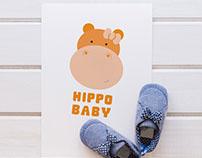 Baby clothes ~HiPPO BABY~ logo concept