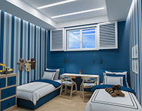 Childrenroom interior of blue color