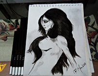 Nude Girl #2 Charcoal Pencil Sketch | By #SyedArt