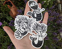 Mermay - Lino cuts and stickers