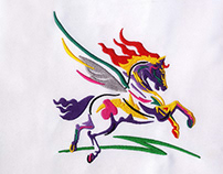 COLORFUL FLYING PEGASUS HORSE EMBROIDERY DESIGN