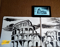 Rome Colosseum Charcoal Drawing | Powered by Syed Art