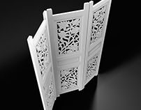 Folding Screen with Carving