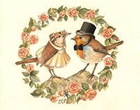 Mother Goose Illustration - Cock Robin & Jenny Wren