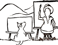 Gracie Cartoon - A day of painting