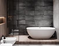 DARK BATHROOM. MINIMALIST LOFT. INTERIOR DESIGN
