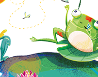 Frogs chilling_ Decorative children illustration