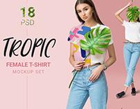 Female t-shirt mockup set + free demo mockup