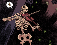 A skeleton is playing the violin while a man is falling