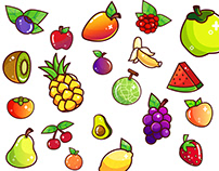 Sparkly Vector Fruits