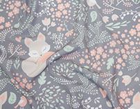Sleeping Fox - surface pattern design