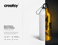 Aluminium Water Bottle Mockup Set