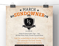 City of Perth Social Club March Sundowner A3 Poster