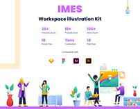 IMES Workspace themed 2D Illustration kit