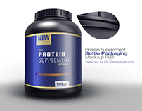 Free Protein Supplement Powder Packaging Mockup PSD