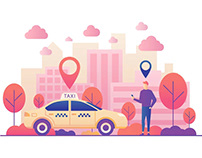 Taxi Order Vector Illustration