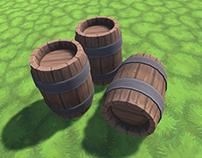 Low-Poly Hand-Painted Barrel