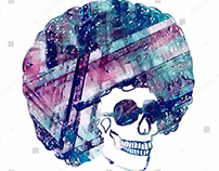 white background disco funk skull illustration