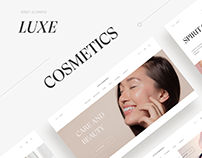 Main screens for Luxe cosmetic's brand