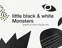 mid century black and white graphical decor line