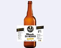 Etiquette bière Blonde du Menhir, loolye labat